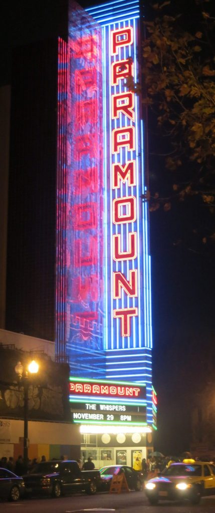 nighttime view of the Paramount