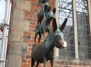 statue of the Town Musicians of Bremen beside the Rathaus in Bremen