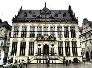 The Schütting, or guildhall, in Bremen was built in 1537-8 and the entrance was added in the 19th century.