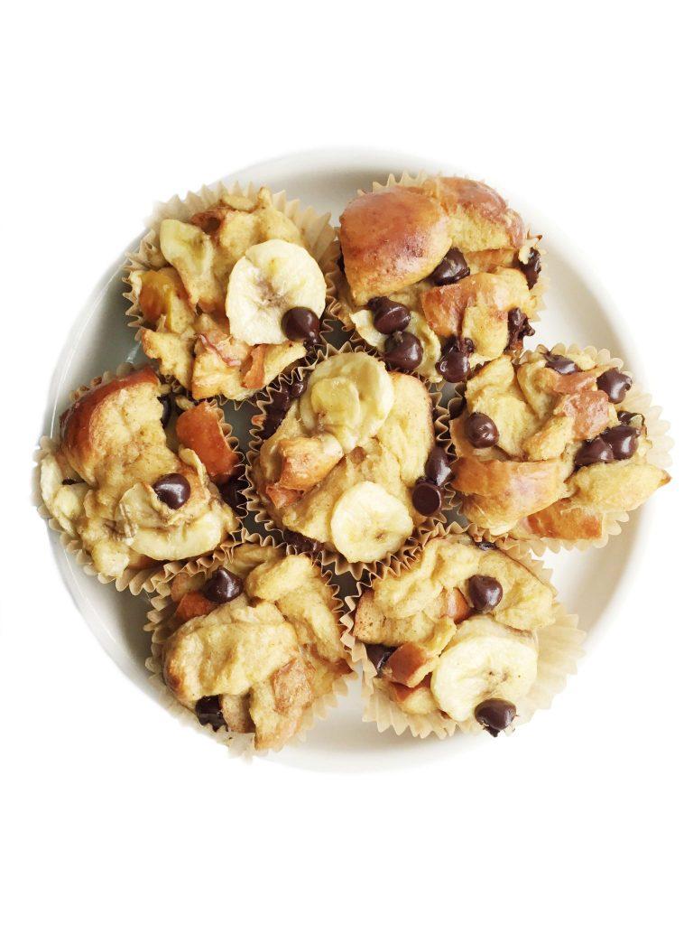 Chocolate Chip Banana Challah French Toast Muffins