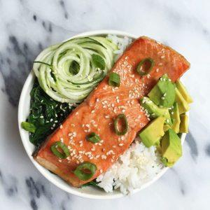 Sesame Ginger Salmon Rice Bowl (gluten & dairy-free)