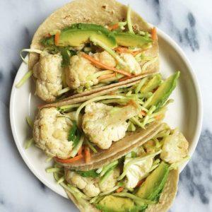 Roasted Cauliflower Tacos with Spicy Broccoli Slaw