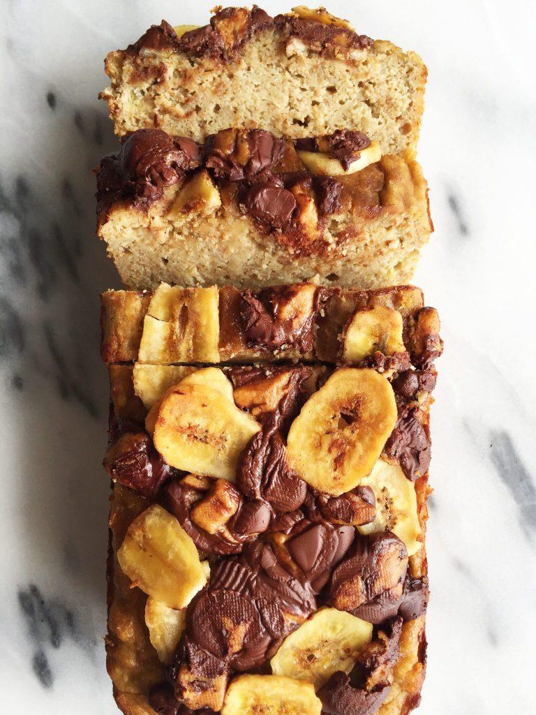 Flourless Dark Chocolate Peanut Butter Cup Banana Bread