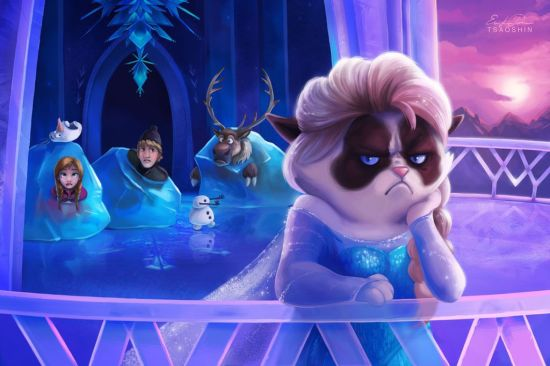 Grumpy Cat Says 'Let it No' in Adorable 'Frozen' Graphic Art Mashup