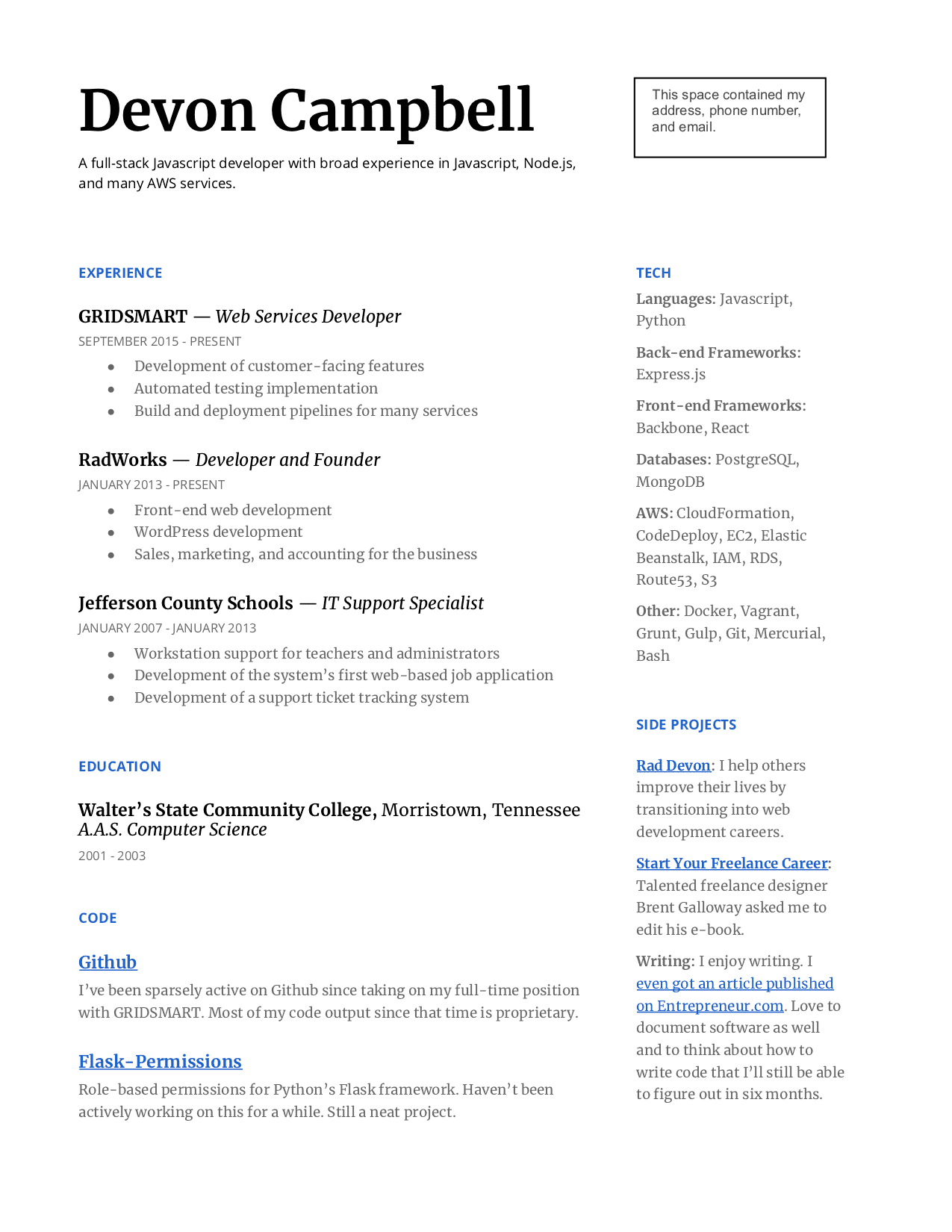 web developer resume with no experience
