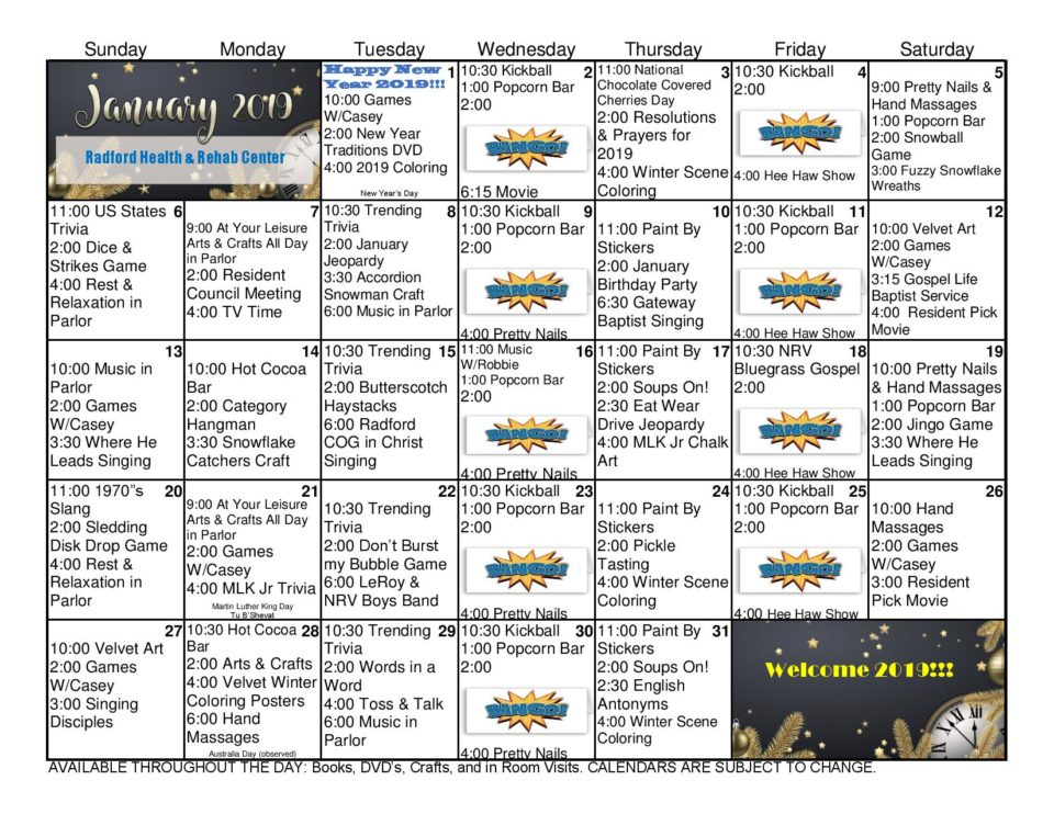 Radford Health  Rehab Center January 2019 Activities Calendar