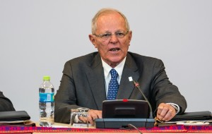 Peru's President Pedro Pablo Kuczynski, speaks during the third Bi-National Ministers Cabinet in Arequipa southern Peru on January 27, 2017. Colombian and Peruvian Presidents, representatives from ministries, together with other public offices from each country meet to formalise agreements of mutual cooperation between their nations. / AFP PHOTO / Ernesto BENAVIDES