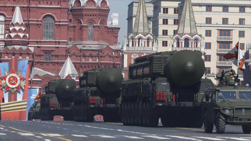 Las Fuerzas Armadas de Rusia exponen parte de sus armas nucleares en el desfile del Día de la Victoria.