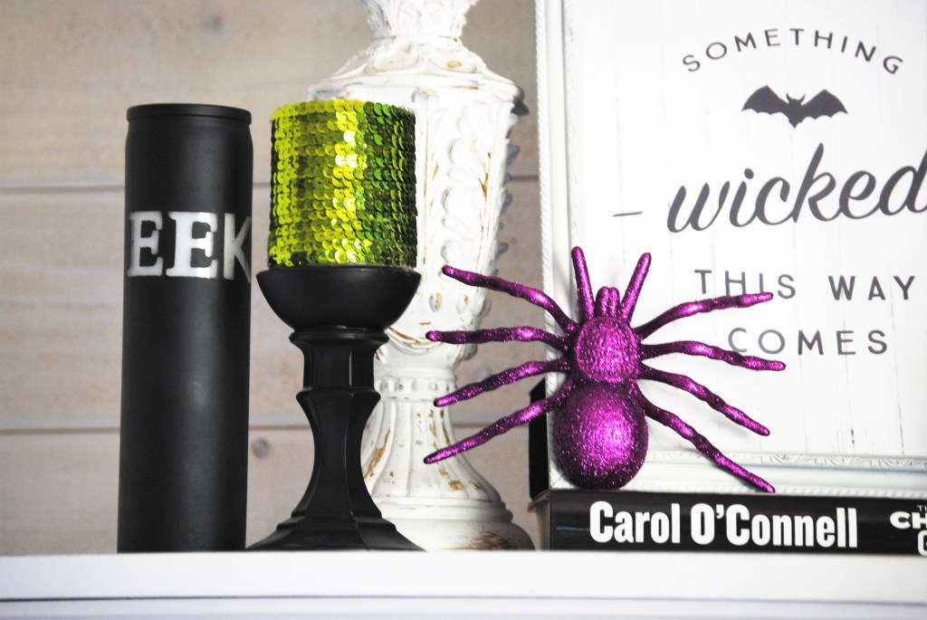 Easy Dollar Store Halloween Decoration Ideas - Painted Pillar Candle