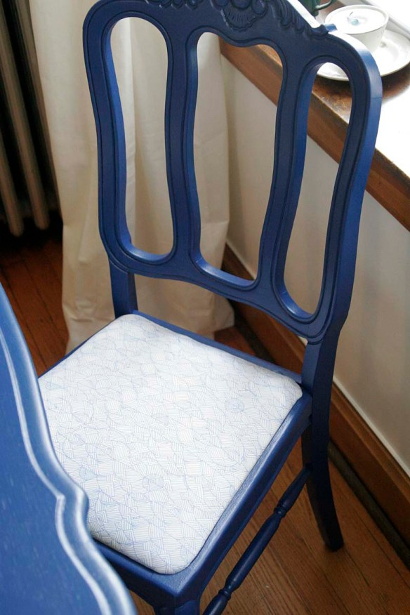 painted, recovered chair