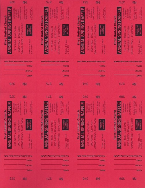 perforated ticket paper