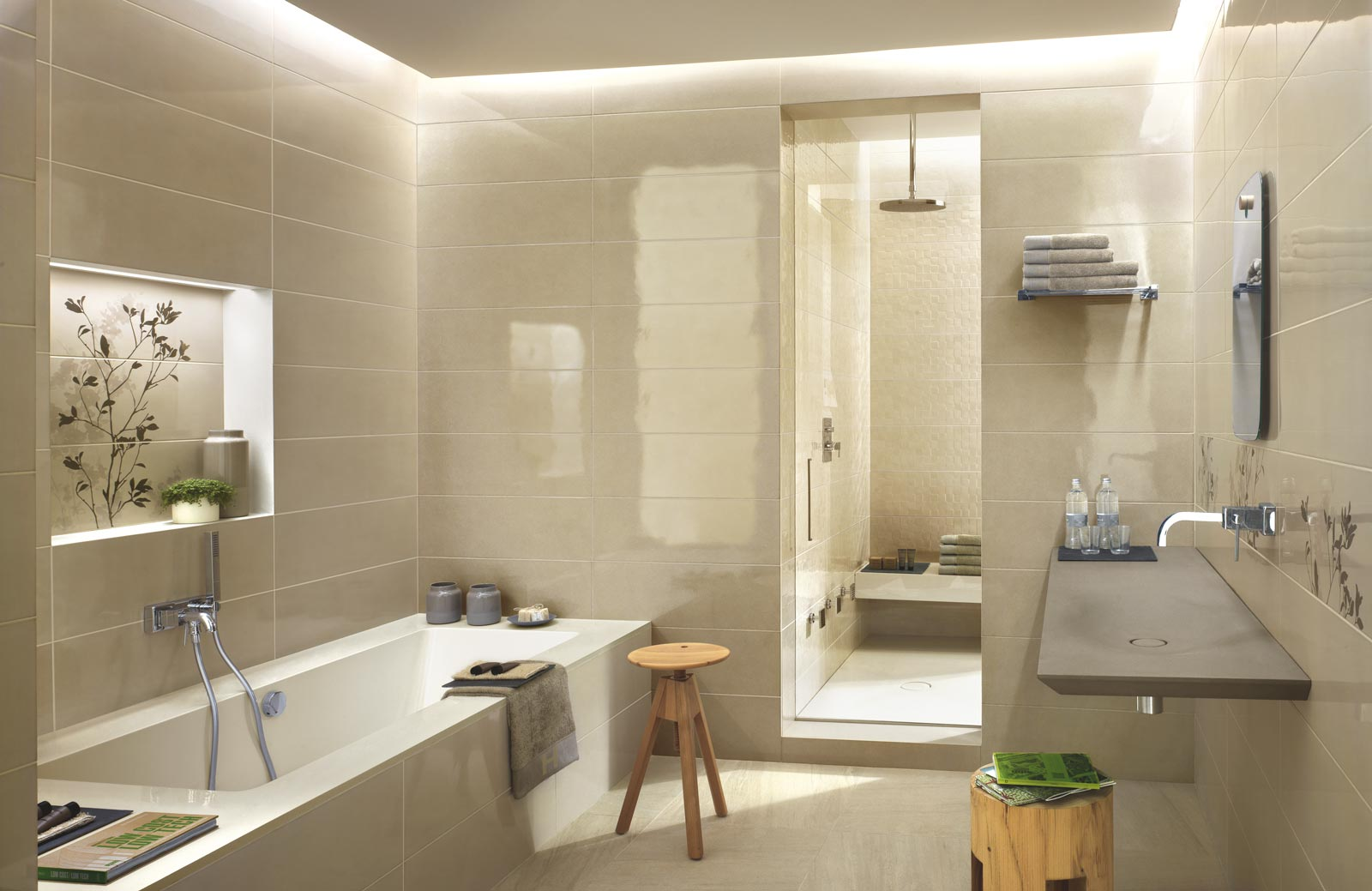 Piastrelle verdi per bagno lampade da sospensione a tre luci
