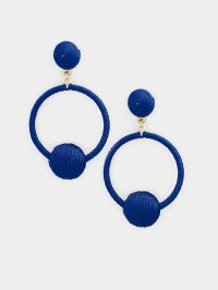 The Callie Thread Ball Hoop Earring Navy Blue