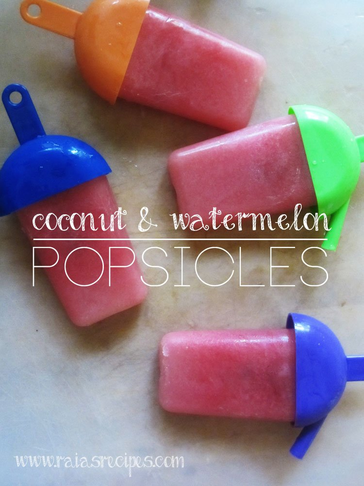 Coconut & Watermelon Popsicles | dairy-free, sugar-free | www.RaiasRecipes.com
