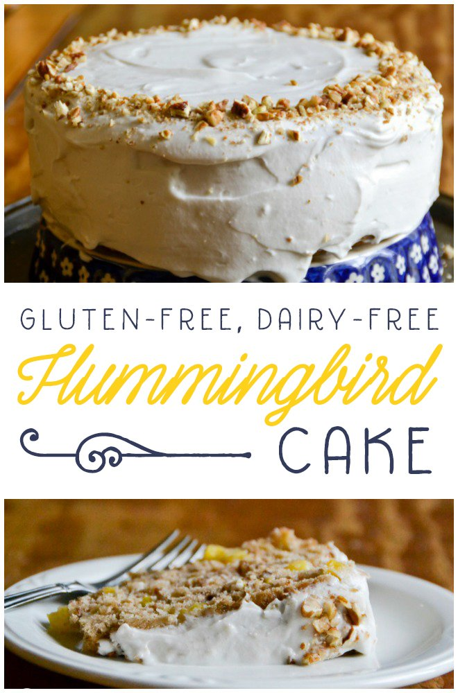 Full of fresh fruits and frosted with coconut whipping cream, this gluten and dairy-free Hummingbird Cake is the perfect summery treat! RaiasRecipes.com