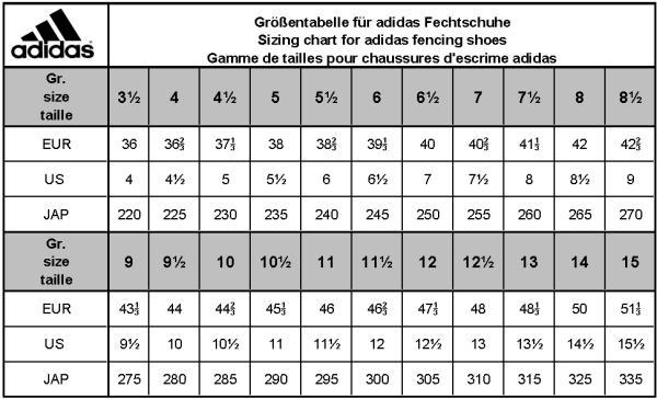 adidas soccer boot size chart Défi J\u0027arrête, j\u0027y gagne!