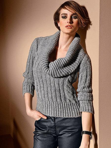 Джемпер или пуловер вязанный спицами и