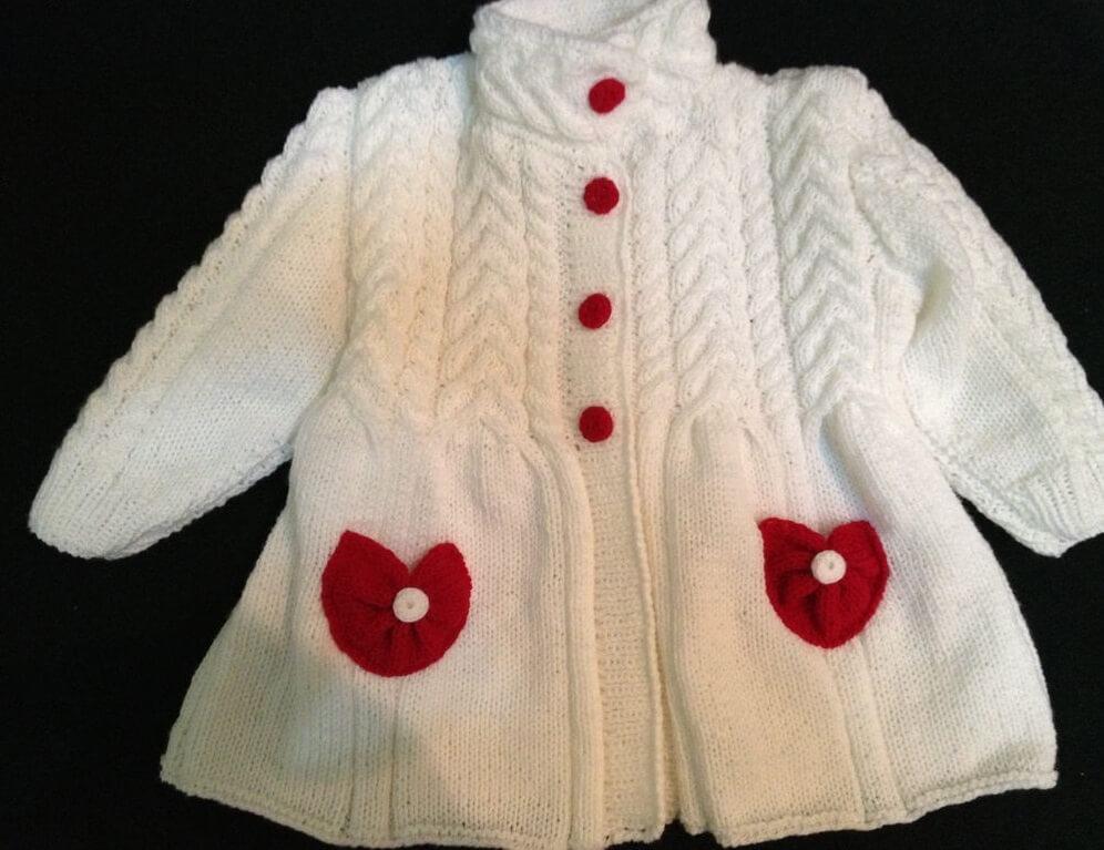 Пальто для девочки вязанное своими руками
