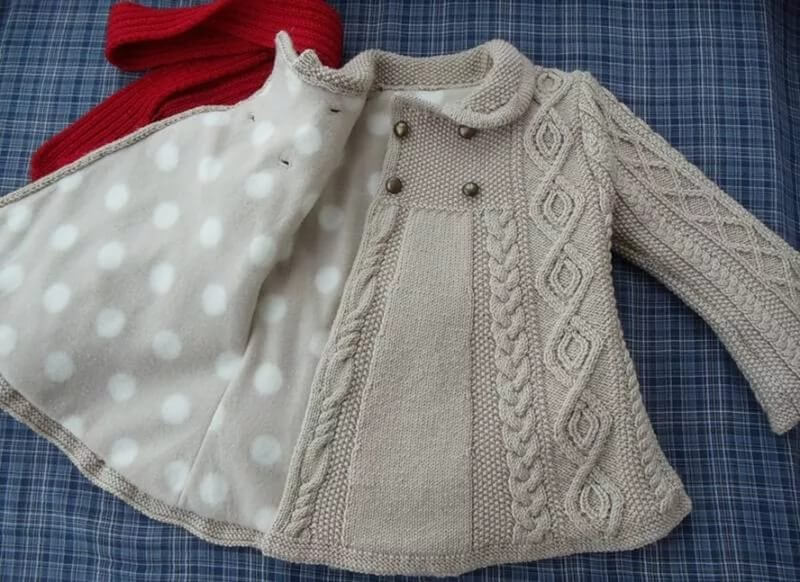 Детское вязаное пальто