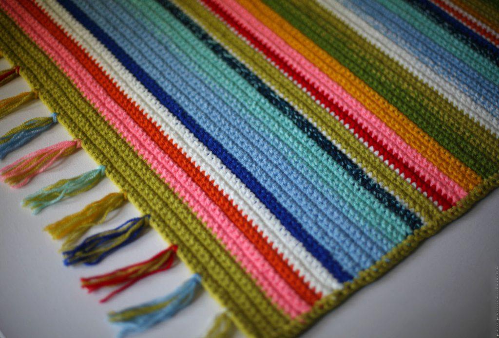 Фото простой коврик связанный крючком