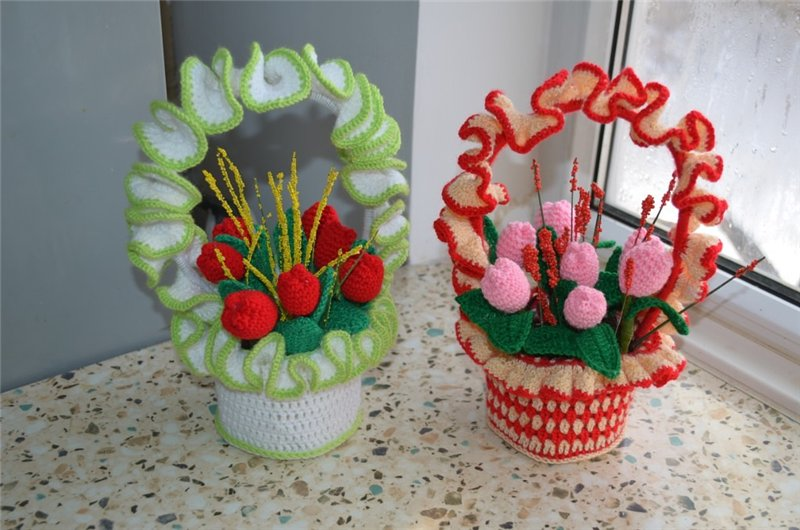 вязаные корзинки с цветами крючком том, чего