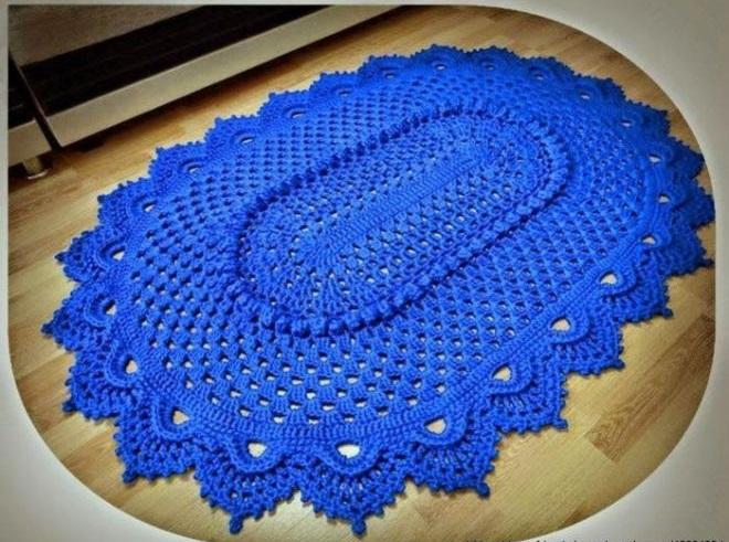 Фото коврик крючком овальной формы