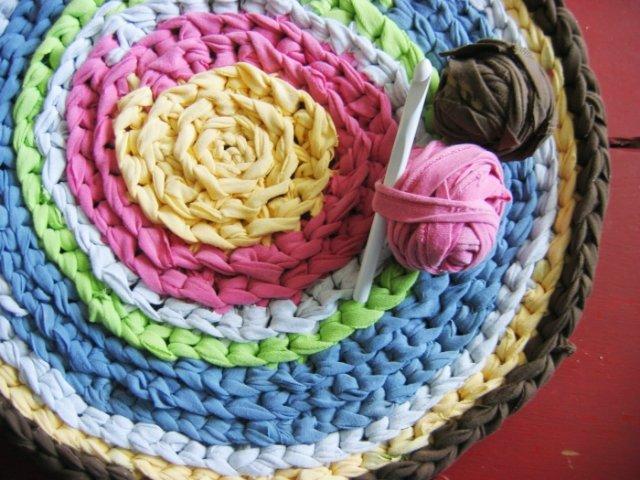 Фото вязание ковриков крючком из футболок
