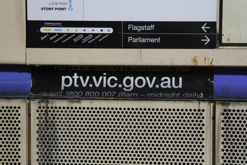 The PTV branding at Melbourne Central is less than a year old, but it is already covered with tunnel grime