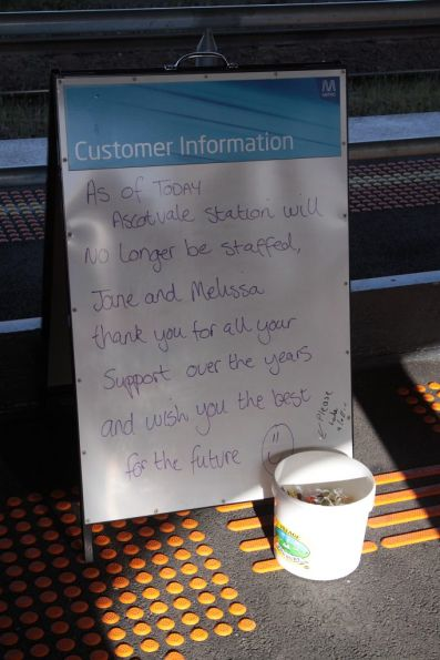 Farewell message from the station staff at Ascot Vale station