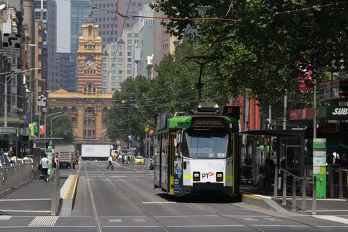 Z3.159 on route 57 stops at Elizabeth and Bourke Streets