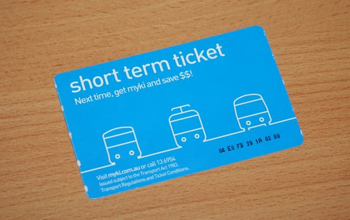 Short term cardboard myki ticket from a Geelong bus