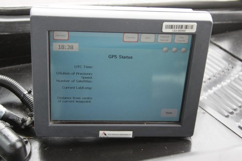 Empty 'GPS status' screen on a Tram Driver Console