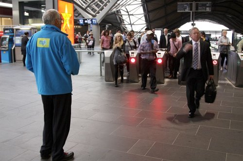 Myki Mates handing out brochures at Southern Cross