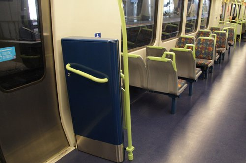 Wheelchair ramps now inside the carriage, one one each side at the cab end of each M car