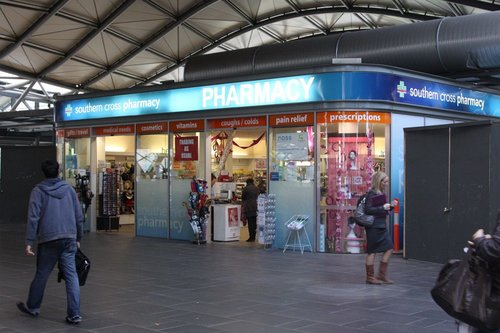Southern Cross Pharmacy on the upper level Collins Street concourse: the only successful business at the station?