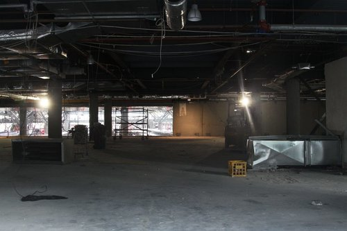 Inside the gutted mezzanine level food court at the Collins Street end