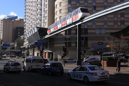 Cars need to stop for traffic lights, but the monorail doesn't need to