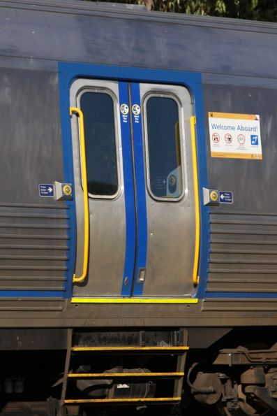 Exterior door detail of a refurbished 3000/3100 class railcar