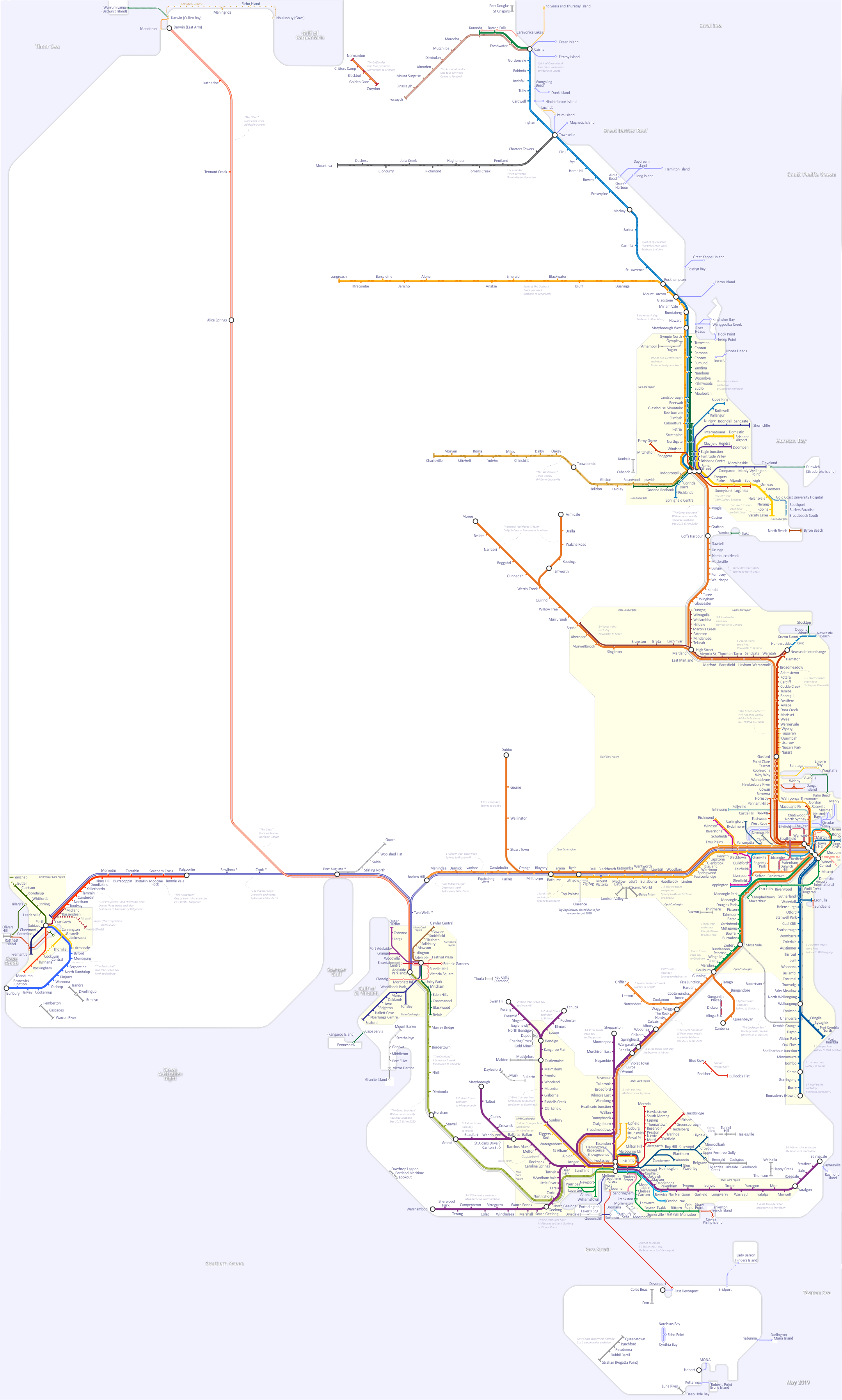 Go Via Trip Planner Train Map Of Eastern Australia And Northern New South Wales