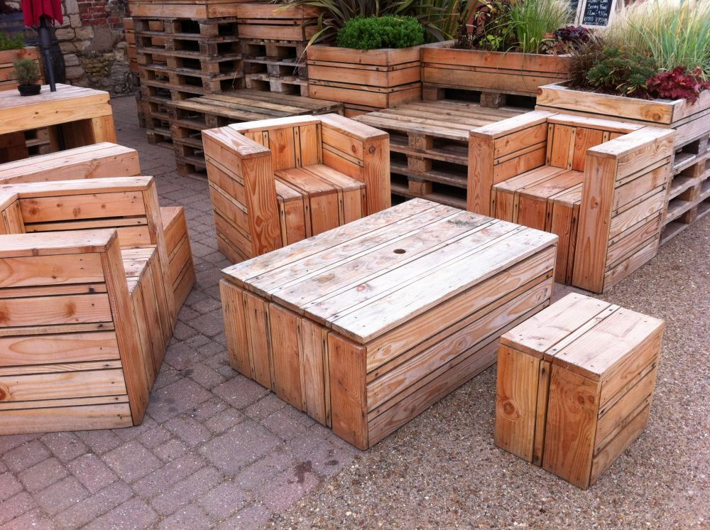 Sofas Direct Furniture Tables & Chairs Made Out Of Pallets, At The Quay Side In