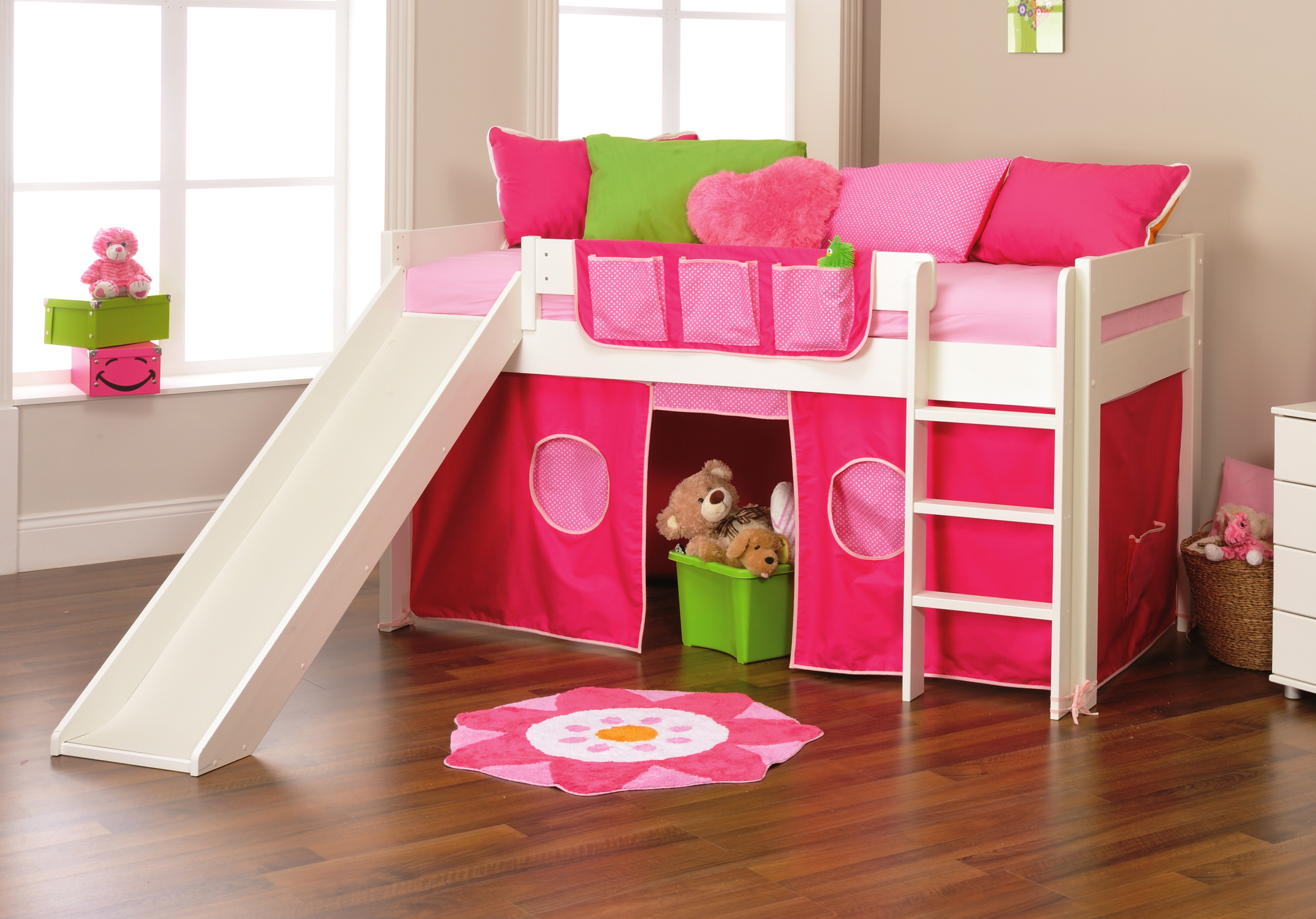 Stompa Classic Bunk Bed Stompa Play 3 Midsleeper With Slide Rainbow Wood