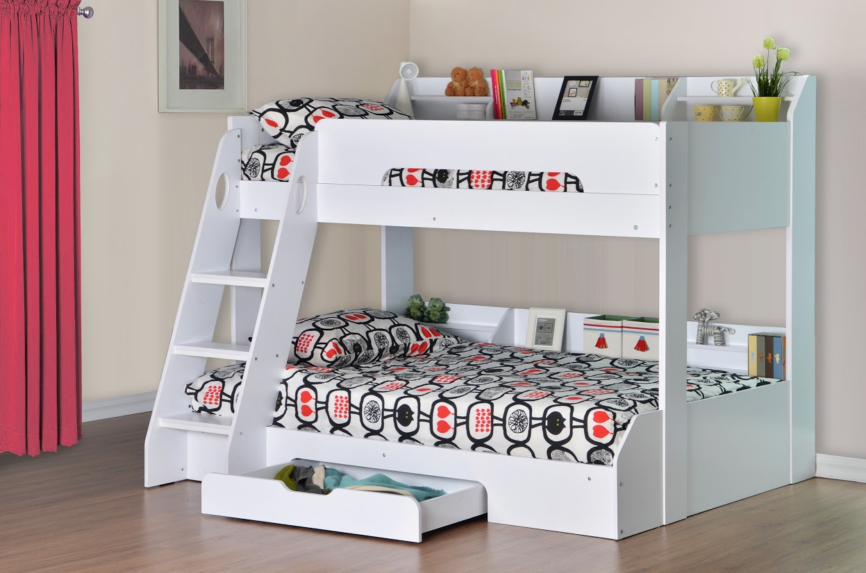 White Wooden Bunk Beds Flick Triple Bunk Bed In White Rainbow Wood