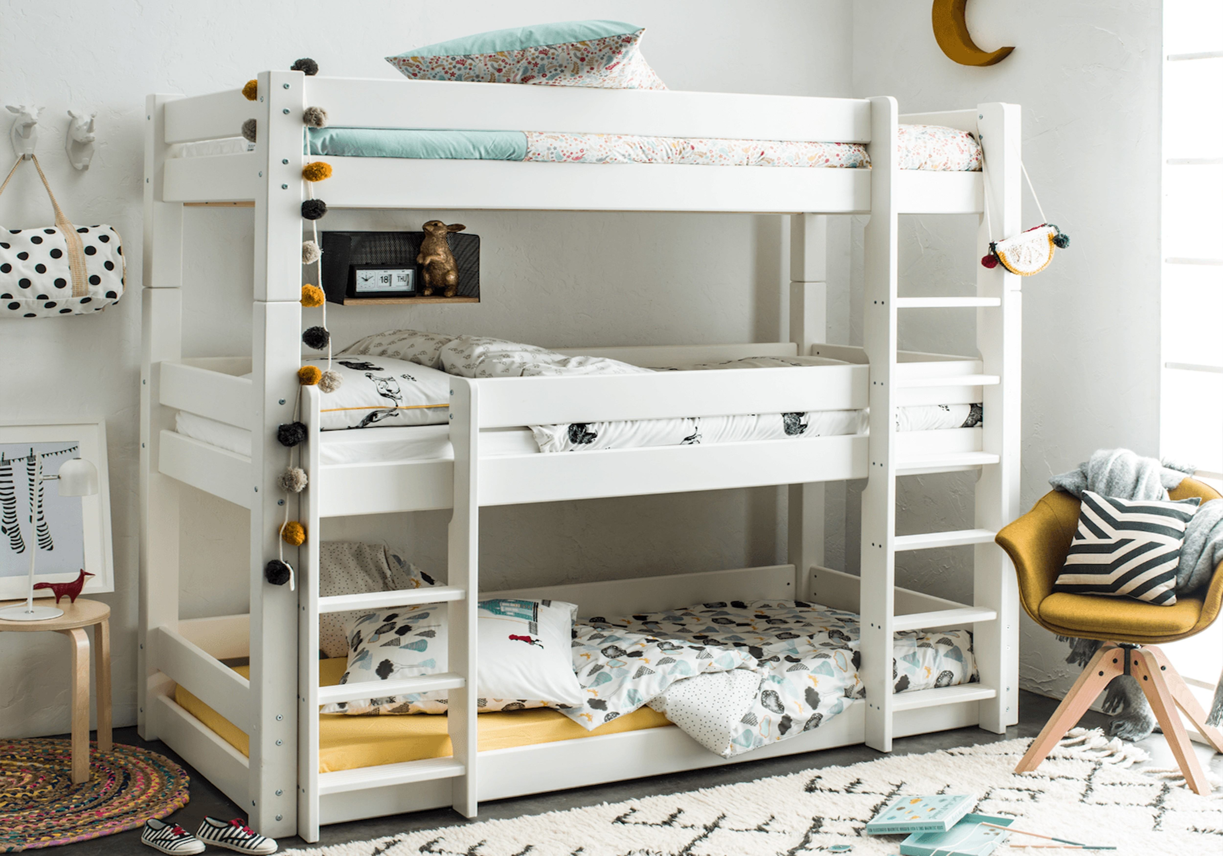 Stompa Classic Bunk Bed Scandinavia Triple Bunk Bed Rainbow Wood