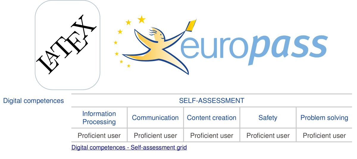 Added the Digital Competence subsection to my LaTeX Europass CV