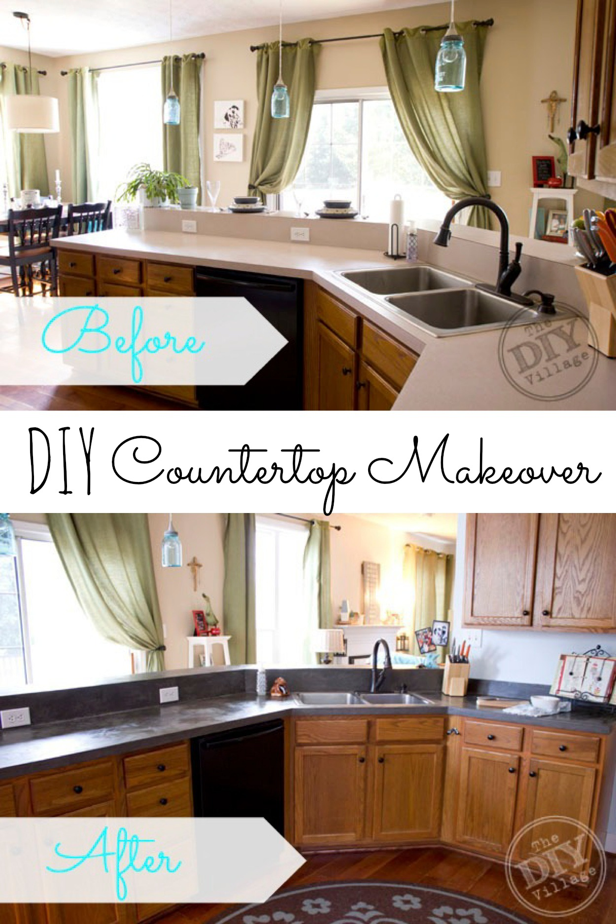 9 diy countertop makeovers affordable kitchen countertops DIY Concrete Countertop Yes please Great DIY countertop makeovers that are doable and affordable