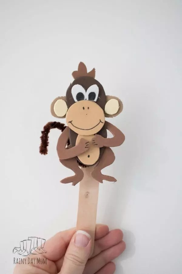 DIY Five Little Monkey\u0027s Jumping on the Bed Puppets