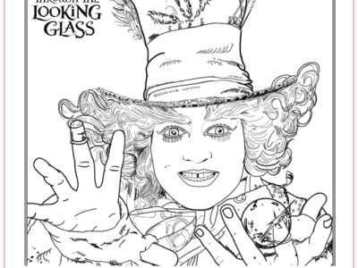 Free Alice through the looking glass coloring pages