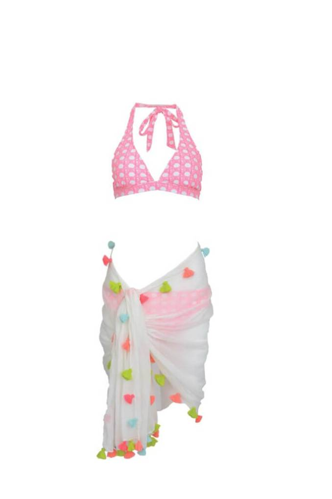 Multi Tassel Scarf, $98; Canning Print Classic Bikini, top, $60, bottom $55; both from Vineyard Vines