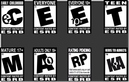 ESRB Ratings (source: psychobuttons.com)