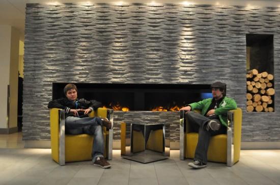 Daniel 'C418' Rosenfeld and Brandon McCartin being handsome
